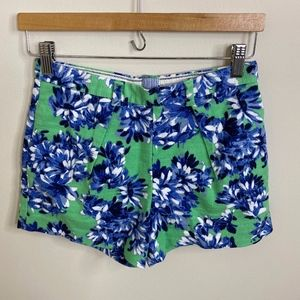 J.Crew Blue & Green Floral Print Shorts High Rise